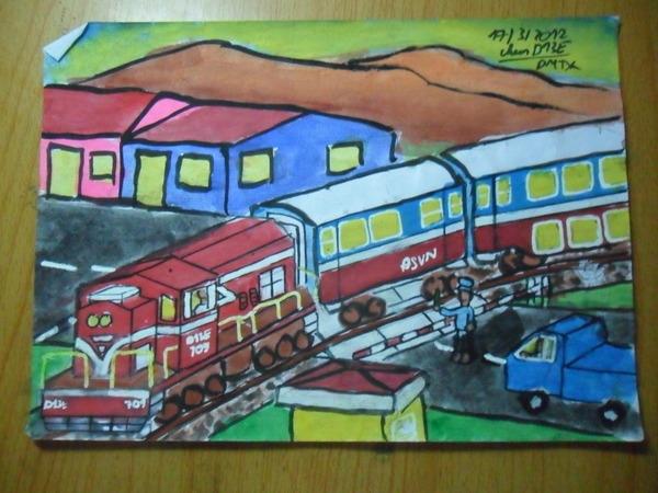 Vẽ tranh đề tài an toàn giao thông đường sắt